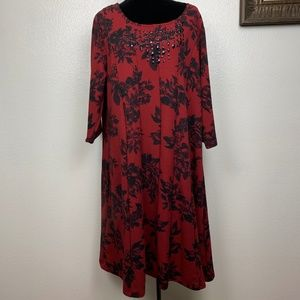 Catherines Floral Paneled Beaded Red Black Dress